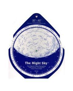 The Night Sky Planisphere 30°-40° Zone - Large